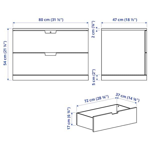 NORDLI Komoda s 2 fioke, bela, 80x54 cm