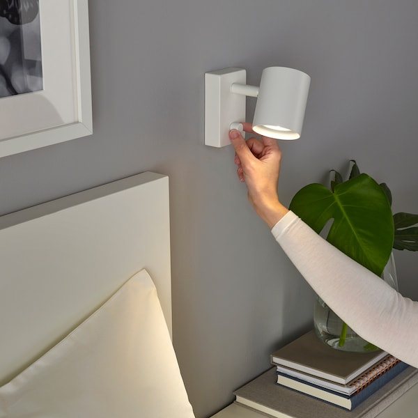 NYMÅNE Zidna/čitaća lampa, trajni priklj., bela