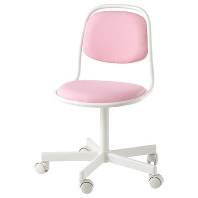 ÖRFJÄLL Dečja radna stolica, bela/Vissle roze
