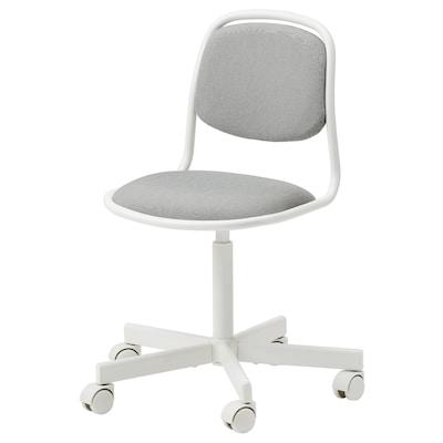ÖRFJÄLL Dečja radna stolica, bela/Vissle svetlosiva