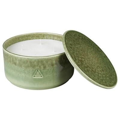 OSYNLIG Mirisna sveća u pos. s pokl, 4 fit., Cvetovi pamuka i jabuke/zelena smeđa, 9 cm