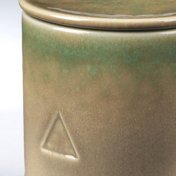 OSYNLIG Mirisna sveća u posudi s poklopcem, Bosiljak i nana/narandžasta zelena, 10 cm