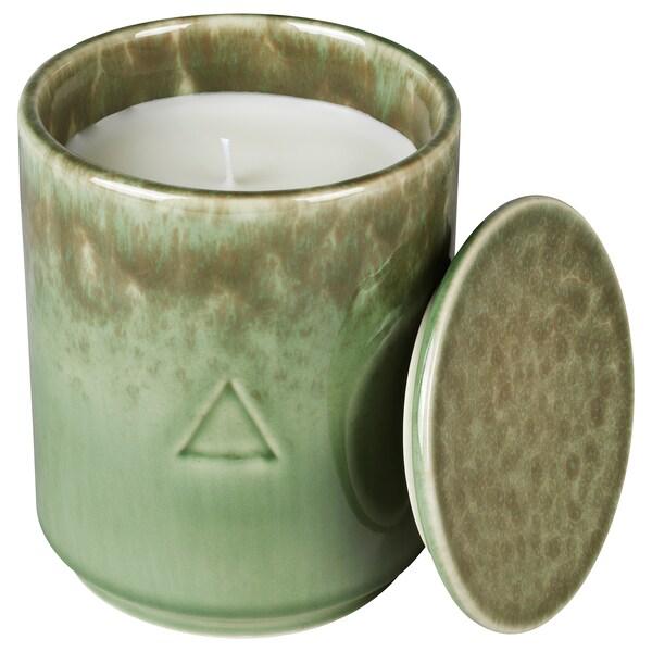 OSYNLIG Mirisna sveća u posudi s poklopcem, Cvetovi pamuka i jabuke/zelena smeđa, 10 cm