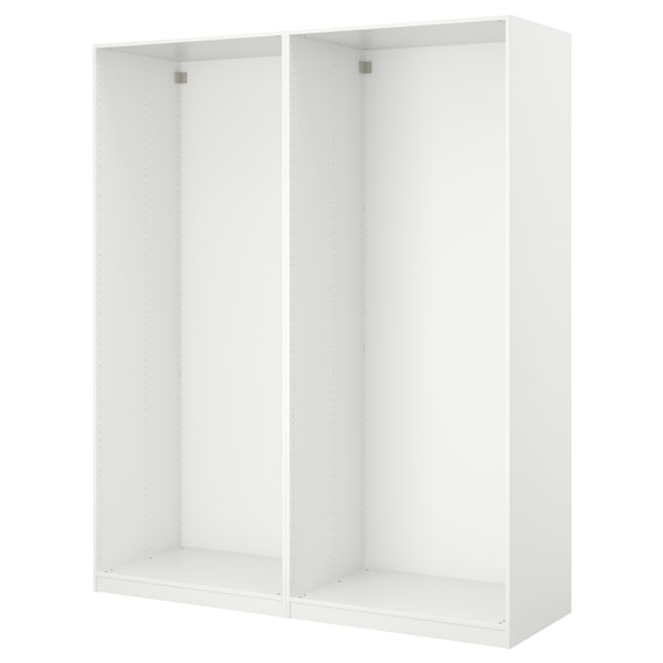PAX Garderober i klizna vrata, bela/Färvik belo staklo, 200x44x236 cm