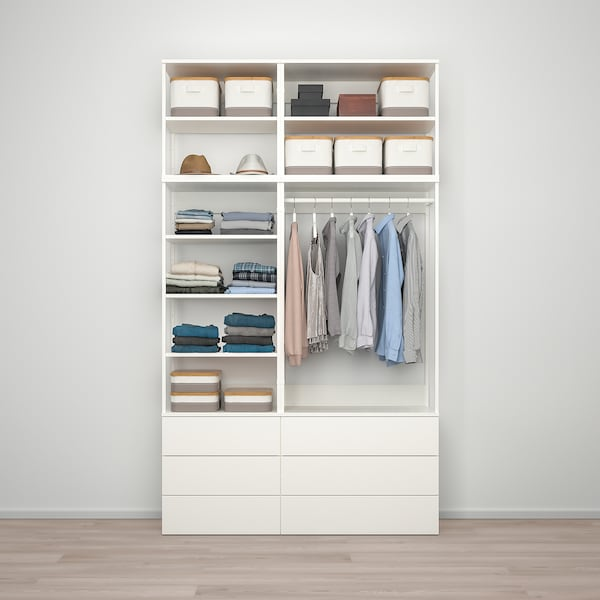PLATSA Garderober sa 6 fioka, bela/Fonnes bela, 140x42x241 cm