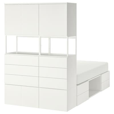 PLATSA Okvir kreveta s 6 vrata i 12 fioka, bela/Fonnes, 140x244x203 cm