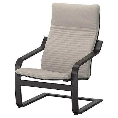POÄNG Fotelja, crno-smeđa/Knisa svetlobež