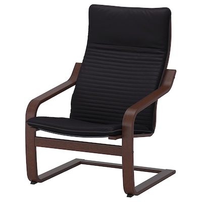 POÄNG Fotelja, smeđa/Knisa crna