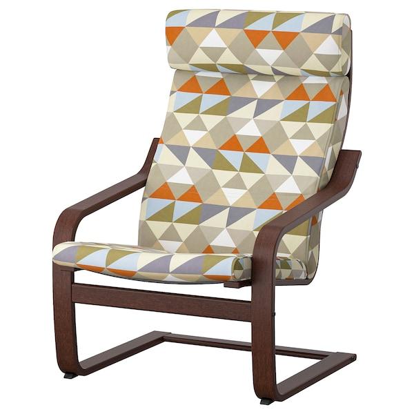 POÄNG Fotelja, smeđa/Rockneby raznobojno