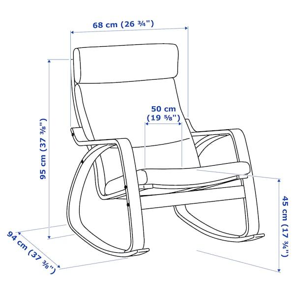 POÄNG Stolica za ljuljanje, belo b. hrastov furnir/Skiftebo žuta