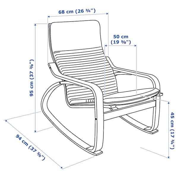 POÄNG Stolica za ljuljanje, crno-smeđa/Knisa svetlobež