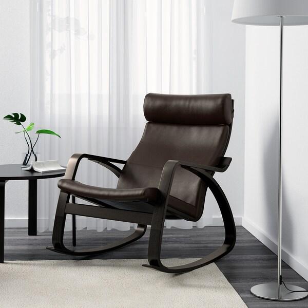 POÄNG Stolica za ljuljanje, crnosmeđa/Glose tamnosmeđa