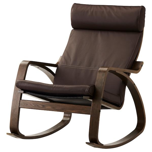 POÄNG Stolica za ljuljanje, smeđa/Glose tamnosmeđa