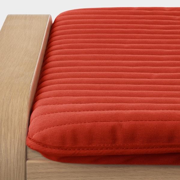 POÄNG Tapecirana stoličica, belo b. hrastov furnir/Knisa crvena/narandžasta