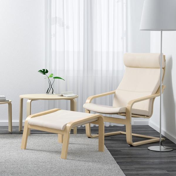 POÄNG Tapecirana stoličica, brezov furnir/Glose boja ljuske jajeta