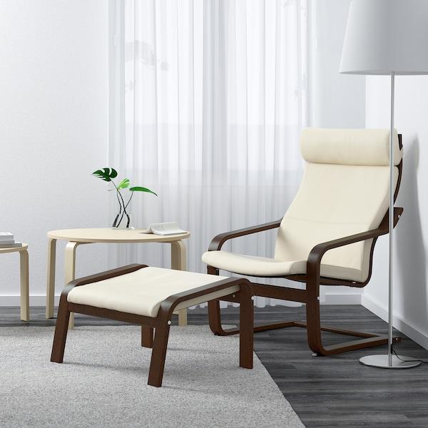 POÄNG Tapecirana stoličica, smeđa/Glose boja ljuske jajeta