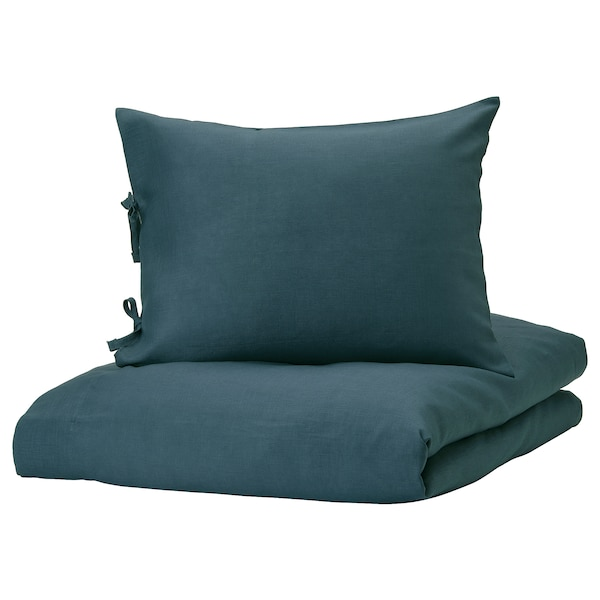 PUDERVIVA Jorganska navlaka i 2 jastučnice, tamnoplava, 200x200/50x60 cm