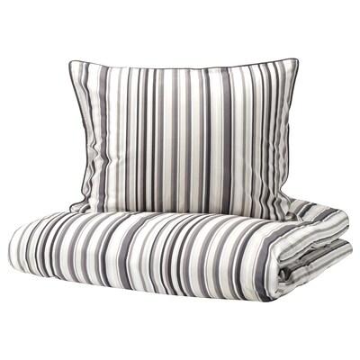 RANDGRÄS Jorganska navlaka i 2 jastučnice, siva/pruga, 200x200/50x60 cm