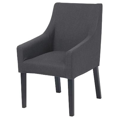 SAKARIAS Navlaka stolice s rukohvatima, Sporda tamnosiva