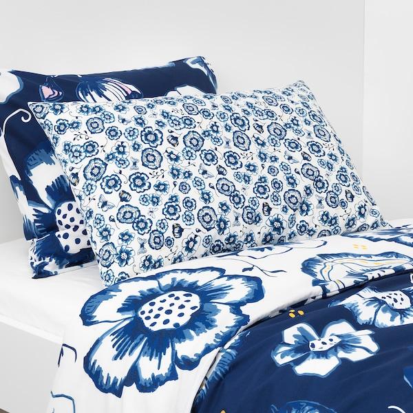 SÅNGLÄRKA Jastučić, cvet/plava bela, 65x40 cm