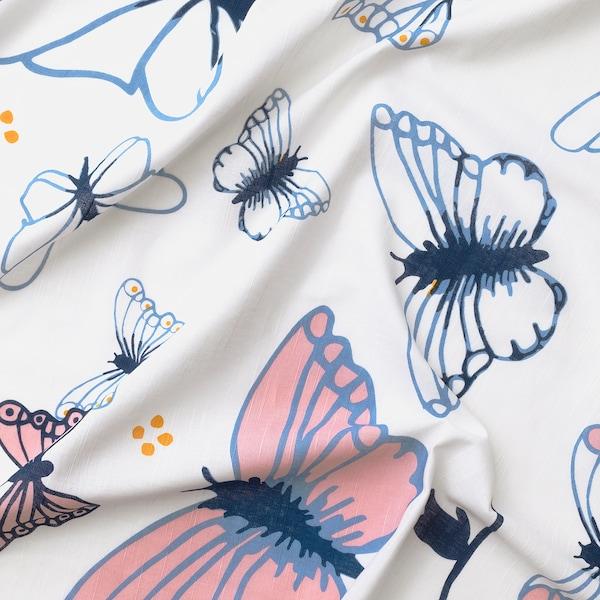 SÅNGLÄRKA Zavese s vezicama, 1 par, leptir/bela plava, 120x300 cm