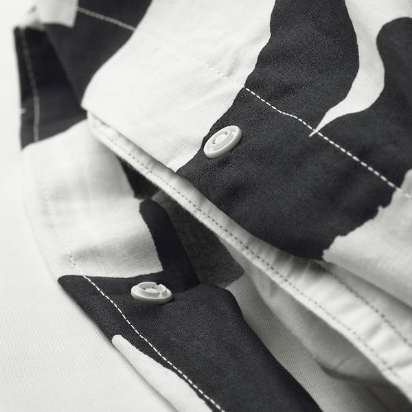 SKUGGBRÄCKA Jorganska navlaka i 2 jastučnice, bela/crna, 200x200/50x60 cm