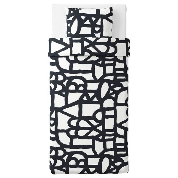SKUGGBRÄCKA Jorganska navlaka i jastučnica, bela/crna, 150x200/50x60 cm