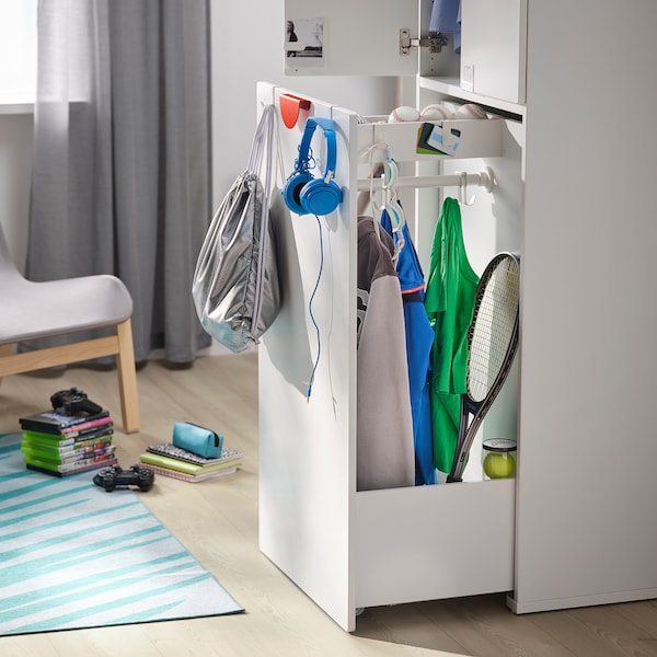 SMÅSTAD Garderober s izvlačnim elementom, bela/pluta sa šipkom za odeću, 60x57x196 cm