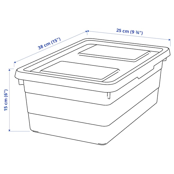 SOCKERBIT Kutija s poklopcem, bela, 38x25x15 cm