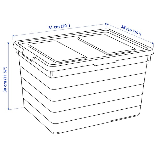 SOCKERBIT Kutija s poklopcem, bela, 38x51x30 cm