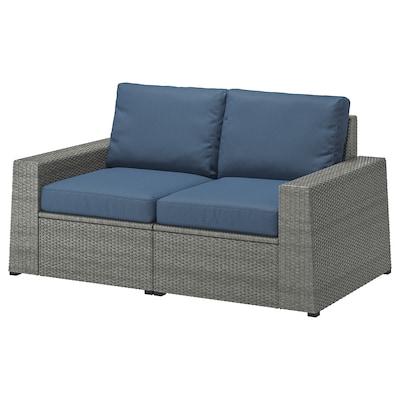 SOLLERÖN Modularna sofa dvosed, spolja, tamnosiva/Frösön/Duvholmen plava, 161x82x88 cm