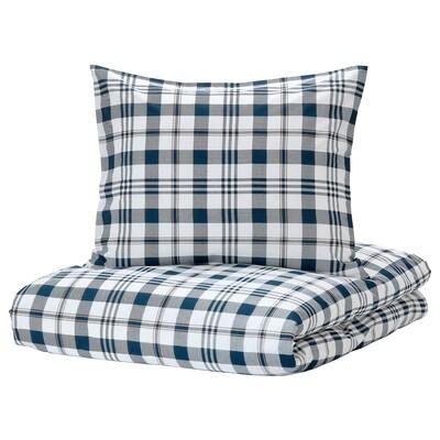 SPIKVALLMO Jorganska navlaka i jastučnica, bela plava/karo, 150x200/50x60 cm