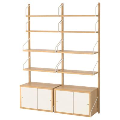 SVALNÄS Komb. za odlaganje, mont. zid, bambus/bela, 130x35x176 cm