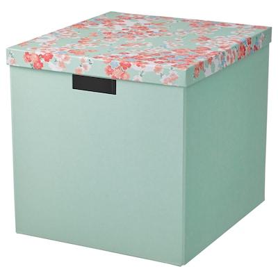 TJENA Kutija za odlaganje s poklopcem, cvet/svetlozelena, 32x35x32 cm