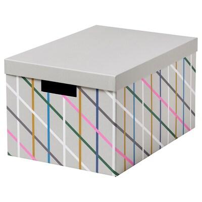 TJENA kutija za odlaganje s poklopcem siva raznobojno/papir 35 cm 25 cm 20 cm