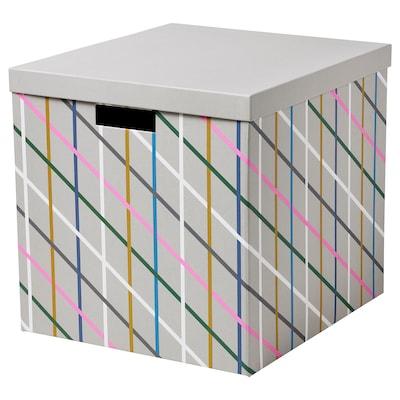 TJENA kutija za odlaganje s poklopcem siva raznobojno/papir 35 cm 32 cm 32 cm