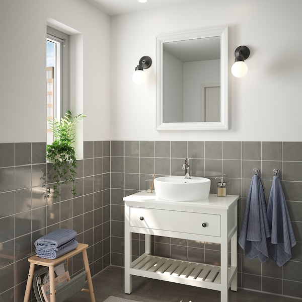 TOFTBYN Ogledalo, bela, 65x85 cm