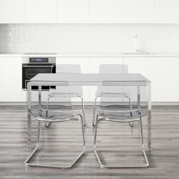 TORSBY / TOBIAS Sto i 4 stolice, staklo bela/providno, 135 cm
