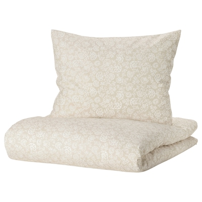 TRINDSTARR Jorganska navlaka i 2 jastučnice, bež/bela, 200x200/50x60 cm