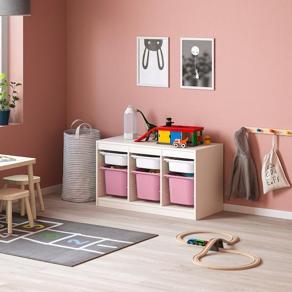 TROFAST Kombin. odlaganje s kutijama, bela bela/roze, 99x44x56 cm