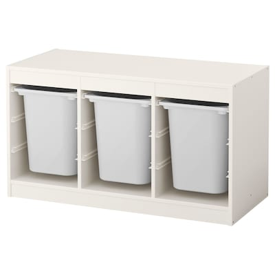 TROFAST Kombin. odlaganje s kutijama, bela/bela, 99x44x56 cm