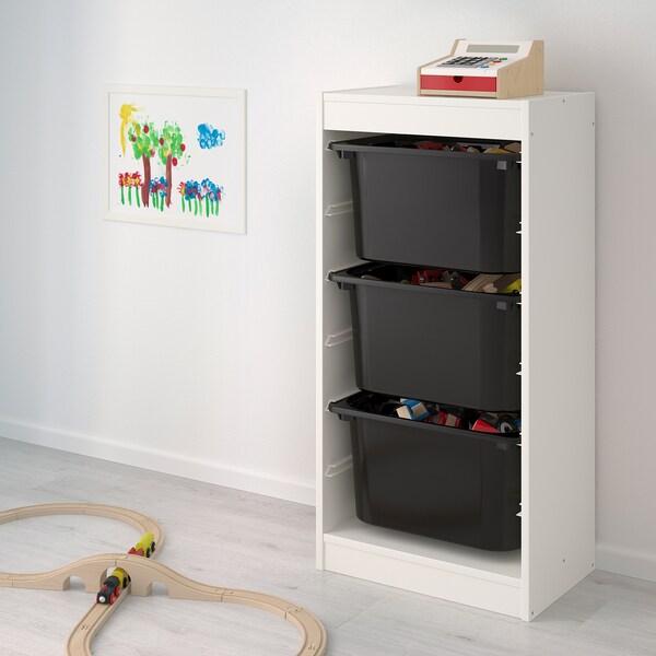 TROFAST Kombin. odlaganje s kutijama, bela/crna, 46x30x94 cm