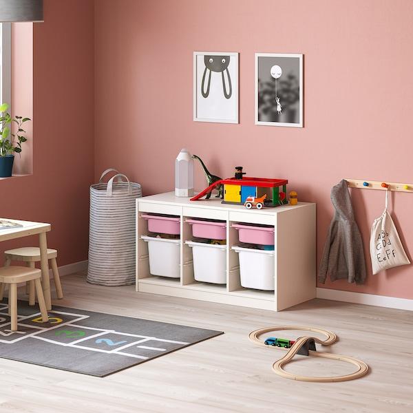 TROFAST Kombin. odlaganje s kutijama, bela roze/bela, 99x44x56 cm