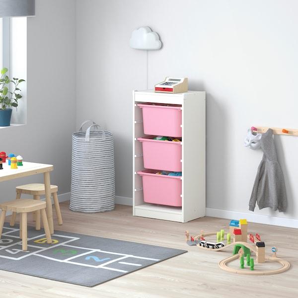 TROFAST Kombin. odlaganje s kutijama, bela/roze, 46x30x94 cm