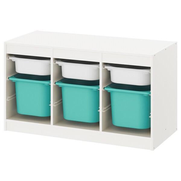 TROFAST Kombin. odlaganje s kutijama, bela/tirkizna, 99x44x56 cm