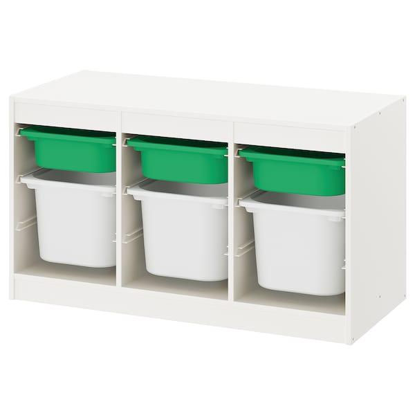 TROFAST Kombin. odlaganje s kutijama, bela zelena/bela, 99x44x56 cm