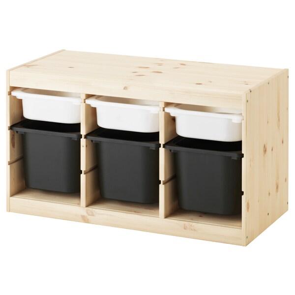 TROFAST Kombin. odlaganje s kutijama, svetlobelo bajcovana borovina bela/crna, 94x44x52 cm
