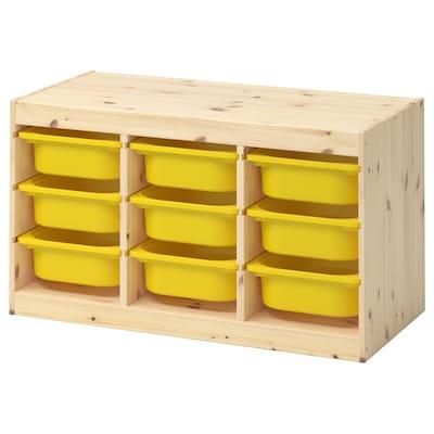 TROFAST Kombin. odlaganje s kutijama, svetlobelo bajcovana borovina/žuta, 93x44x52 cm