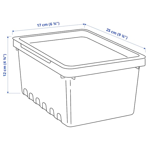 UPPSNOFSAD Kutija za odlaganje s poklopcem, crna, 25x17x12 cm/4 l