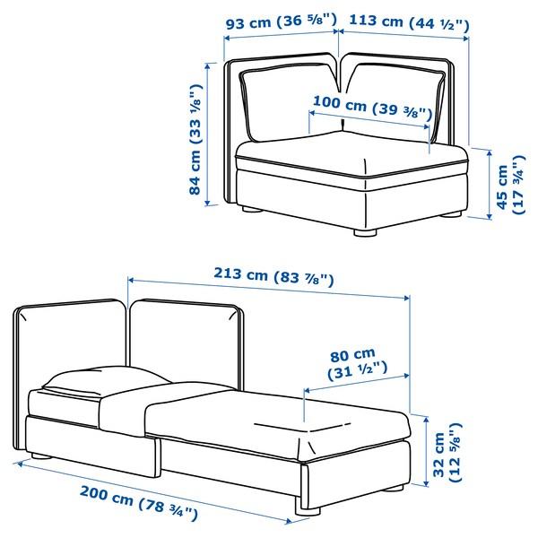 VALLENTUNA Modul. sofa ležaj s nasl. za leđa, Hillared bež